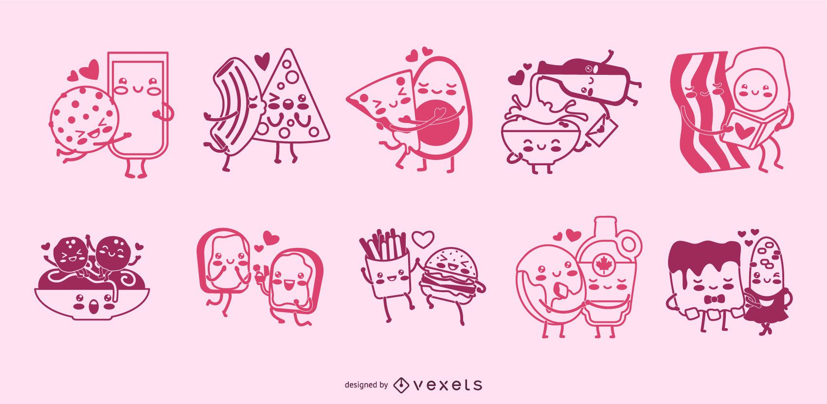 Food couples stroke character set