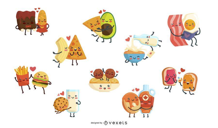 Conjunto de caracteres de casais de comida
