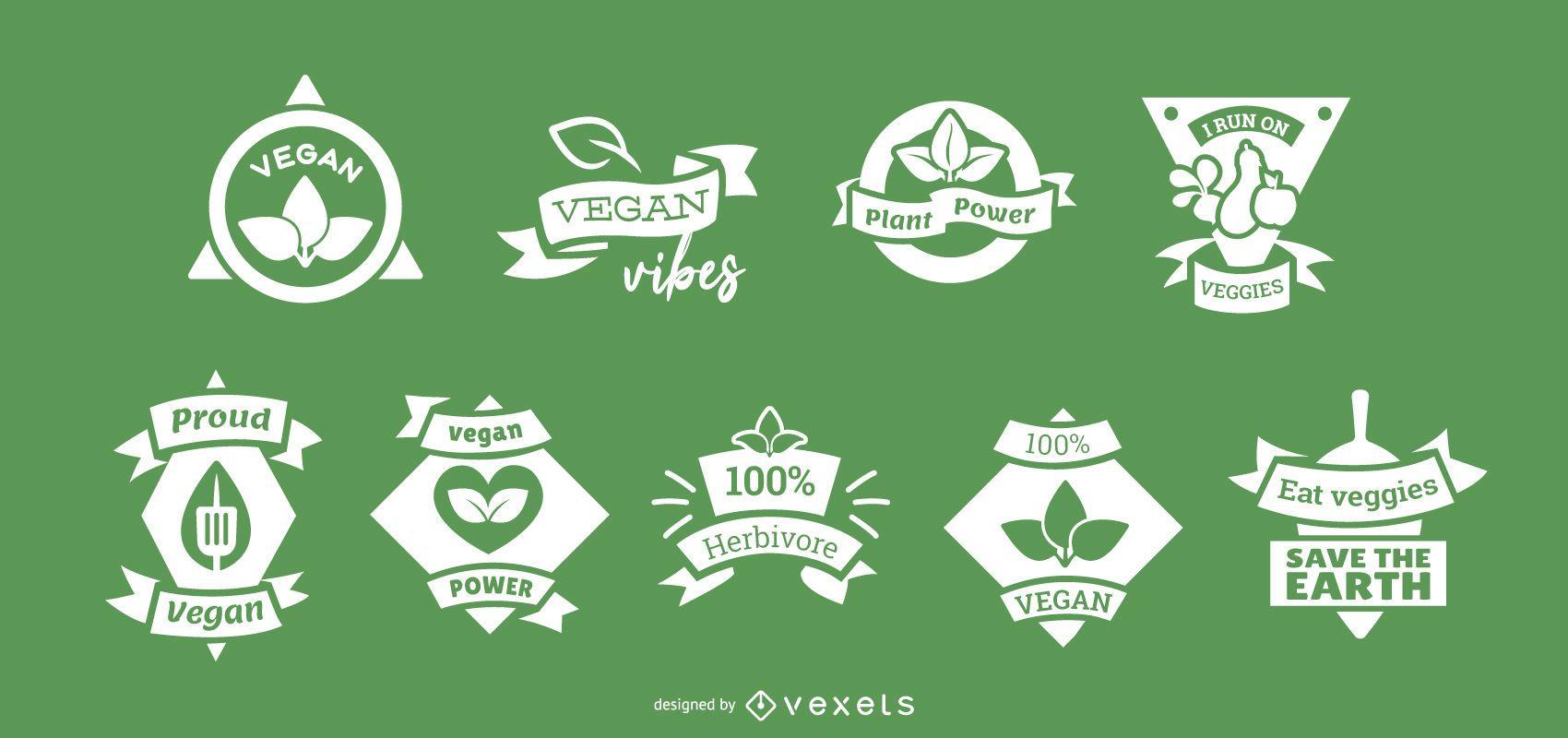 Conjunto de insignias veganas