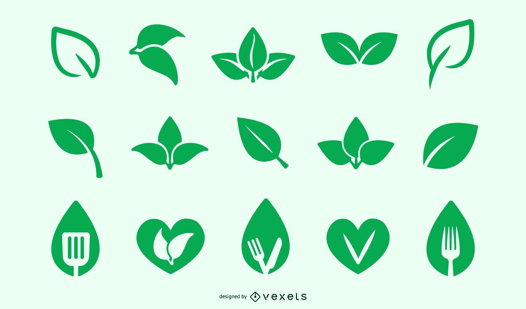 Conjunto de iconos veganos y vegetarianos