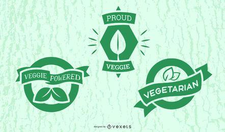 Conjunto de emblemas vegetarianos
