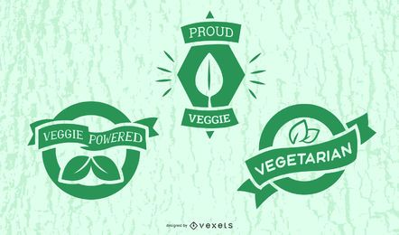 Vegetarian badges set