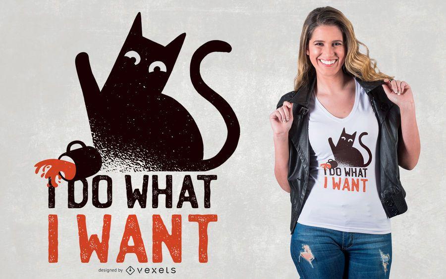 Design de camiseta com citação de gato rebelde