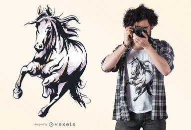 Desenho de camiseta de cavalo em aquarela