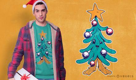 Diseño de camiseta de árbol de navidad de dibujos animados