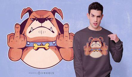 Design de t-shirt de dedo médio do cão