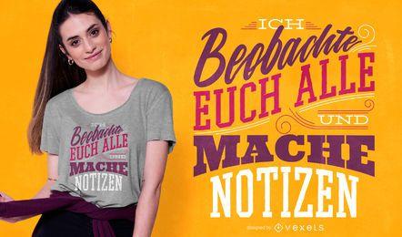 Diseño de camiseta con letras de cita alemana