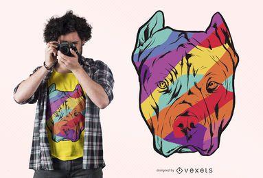 Projeto colorido do t-shirt do pitbull