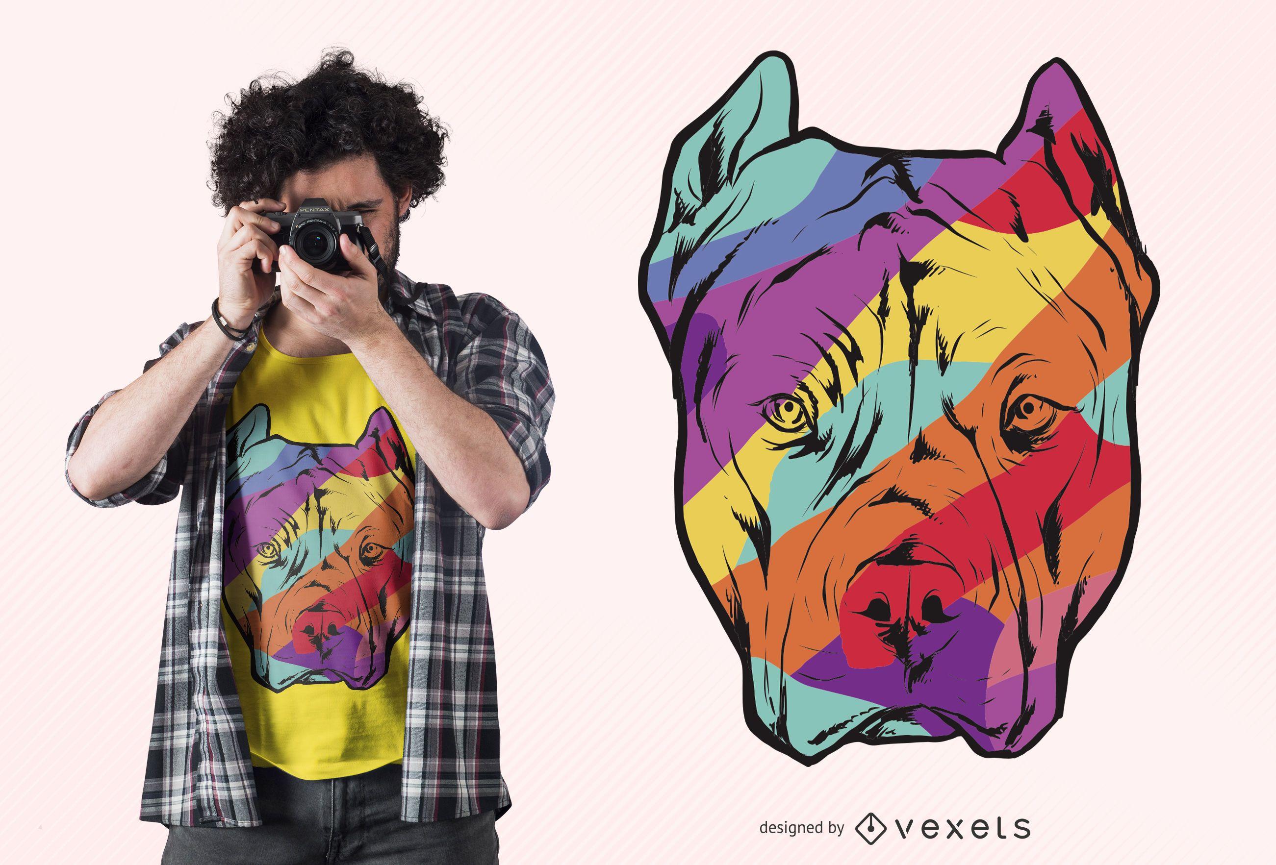 Diseño de camiseta de pitbull colorido