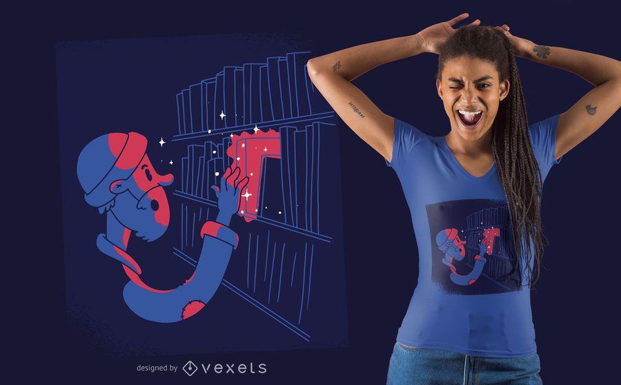 Design de t-shirt de livro mágico