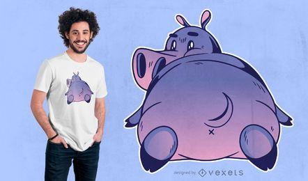 Diseño de camiseta de hipopótamo de dibujos animados