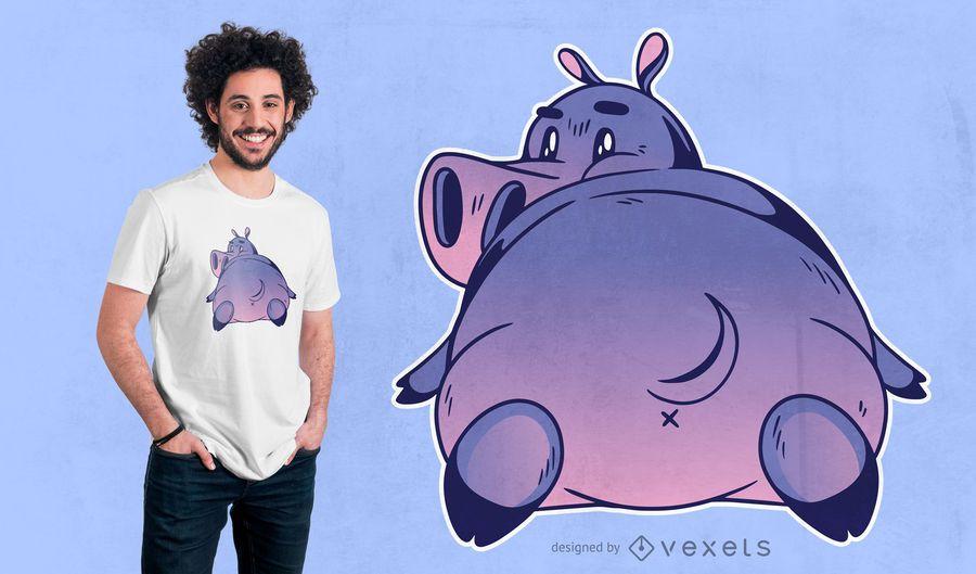 Design de t-shirt de hipopótamo dos desenhos animados