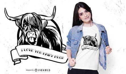 Diseño de camiseta de cita de vaca de montaña