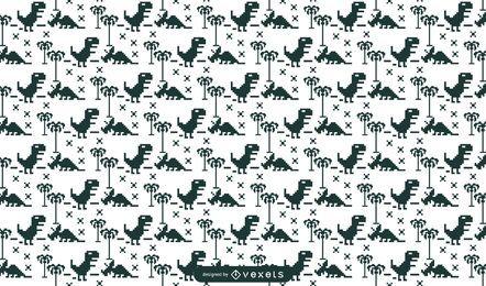 Diseño de patrón de dinosaurios pixelados