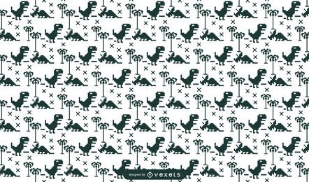 Pixelated dinos pattern design