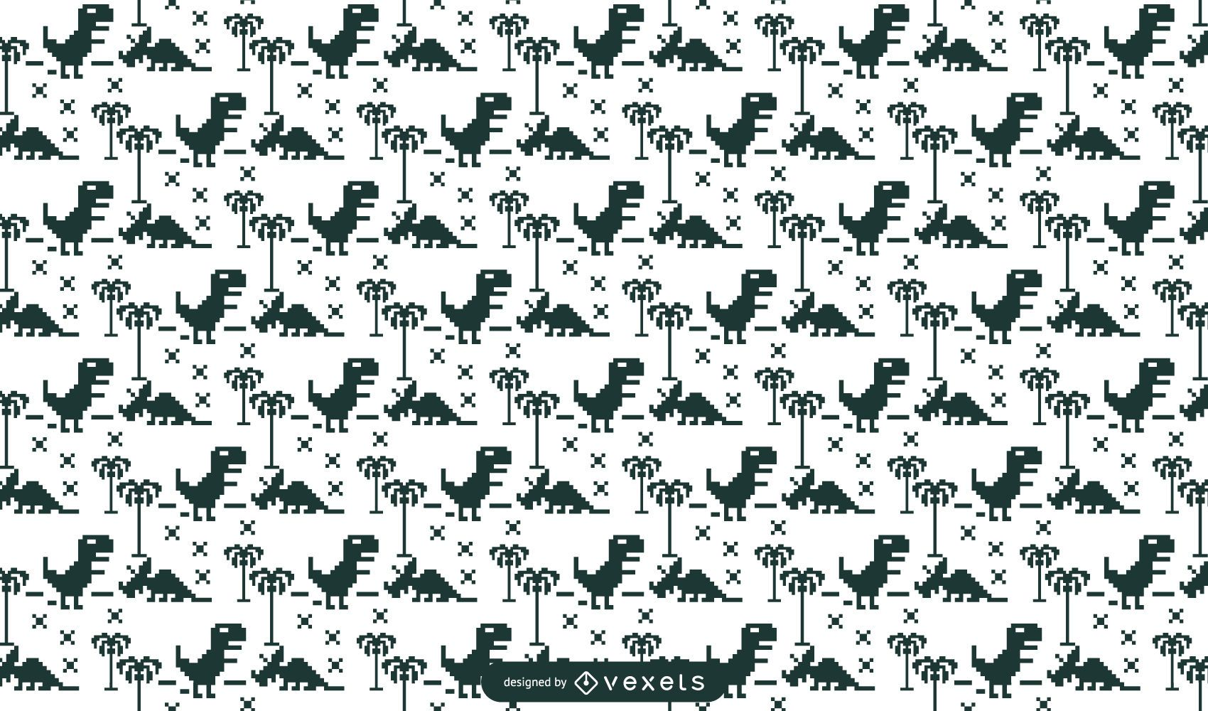 Pixelated dinos pattern design