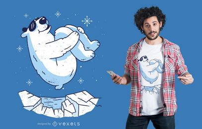 Design de t-shirt de salto de urso polar