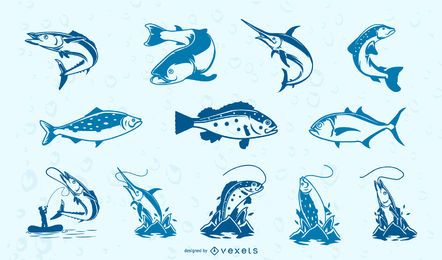 Blue fishes collection