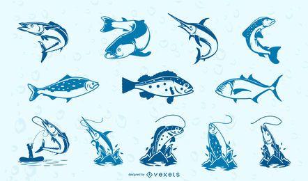 Coleção de peixes azuis