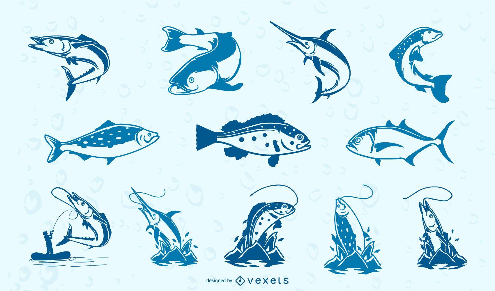 Colección peces azules
