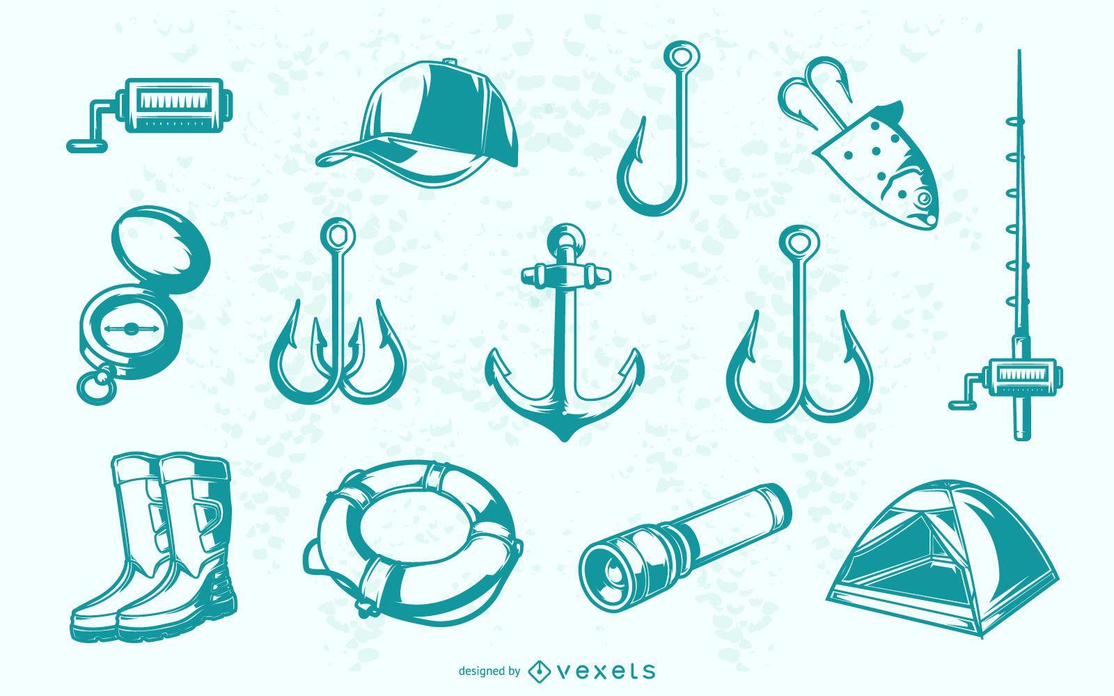 Blue fishing elements