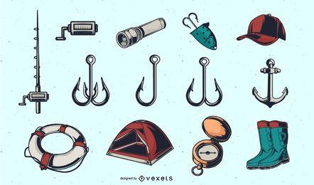 Coleção de ferramentas de pesca vintage