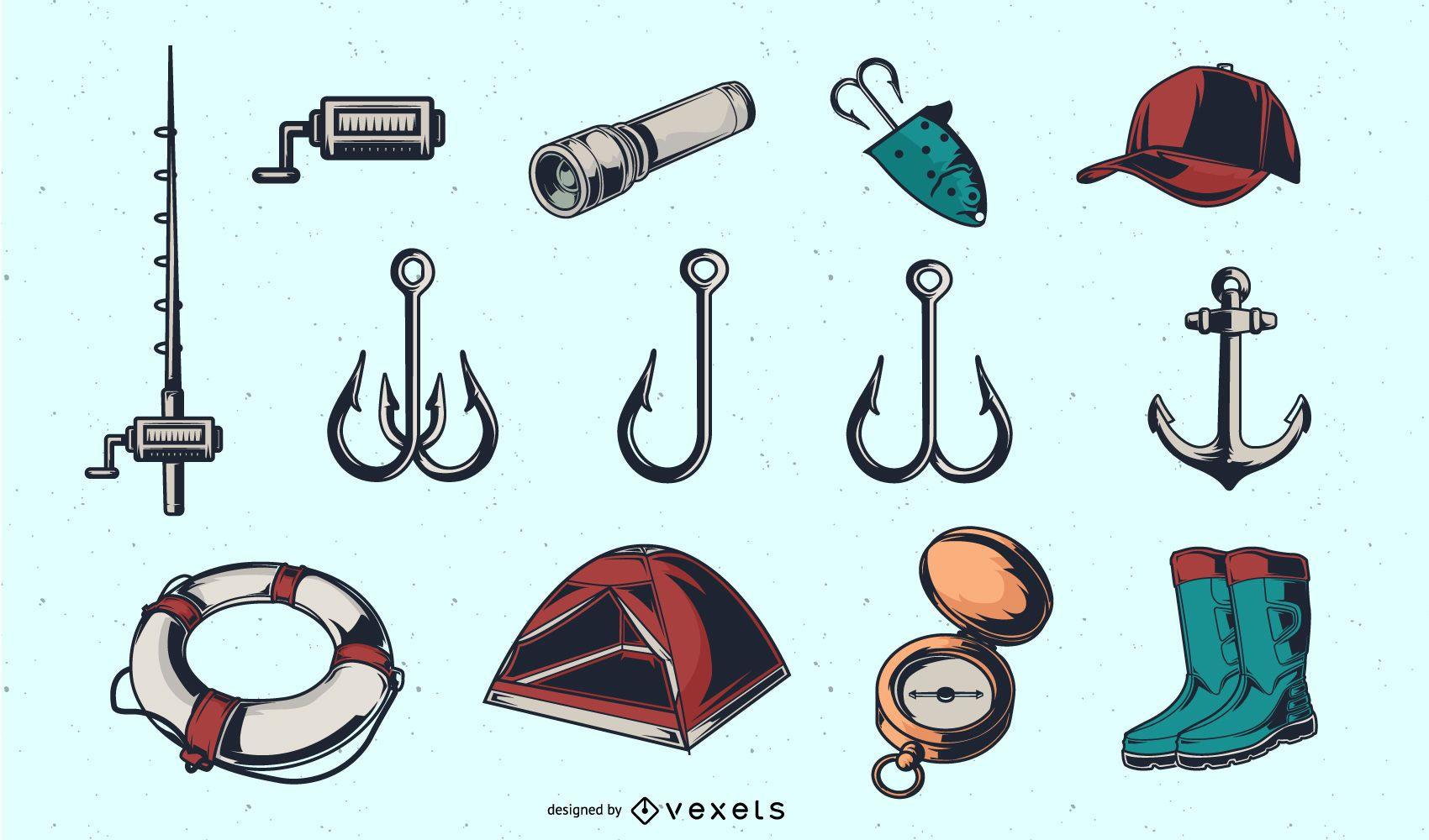 Colección de herramientas de pesca vintage