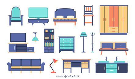 Coleção de móveis planos coloridos