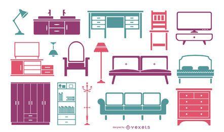 Colección de colores de muebles planos