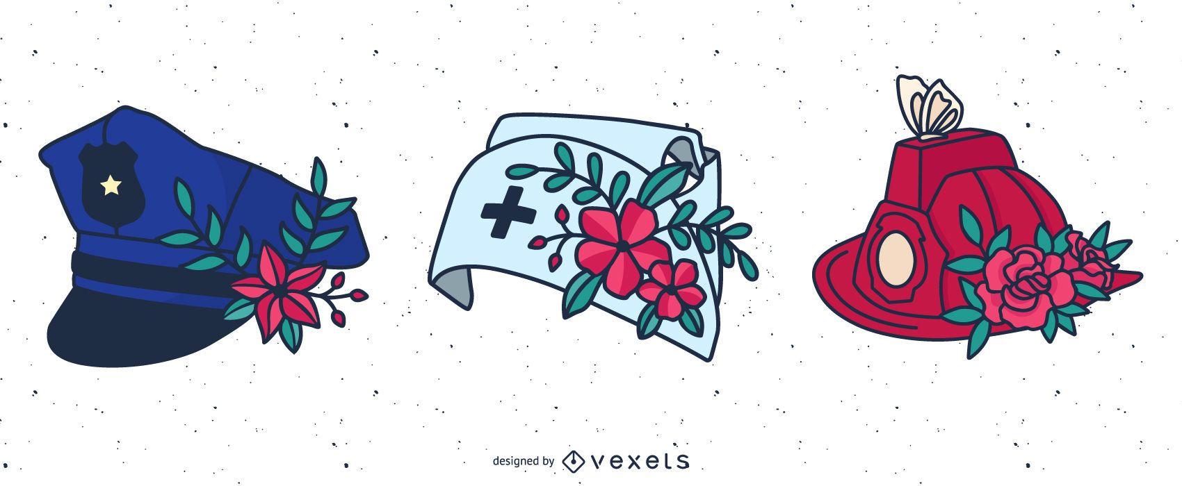 Sombreros de flores de primera respuesta