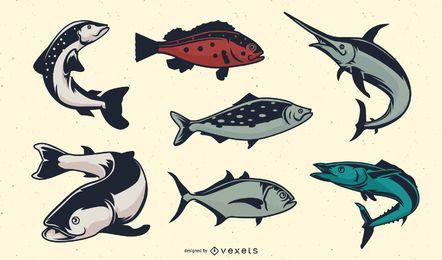 Conjunto de peixes vintage
