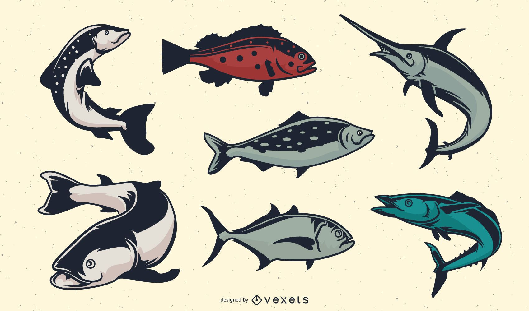Vintage fishes set