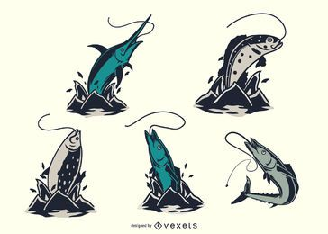 Conjunto de salto de peixes vintage