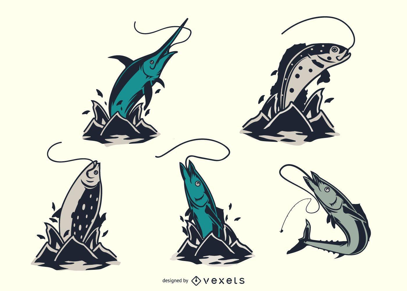 Vintage fishes jumping set