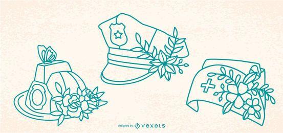Chapéus da flor do curso do primeiro respondedor