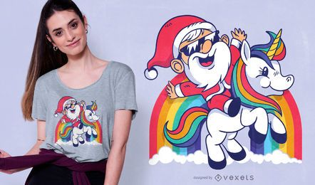 Cute santa unicorn t-shirt design