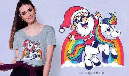 Diseño lindo de camiseta de unicornio de santa