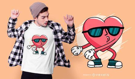 Diseño de camiseta con corazón de hilo dental