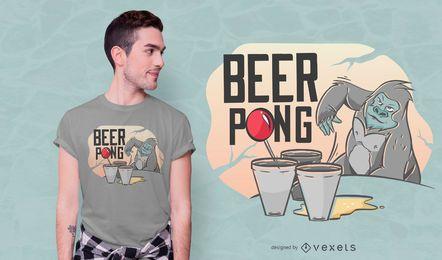 Design de t-shirt de gorila pong de cerveja