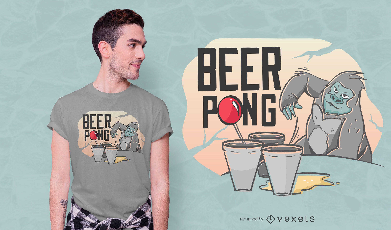 Beer pong gorilla t-shirt design