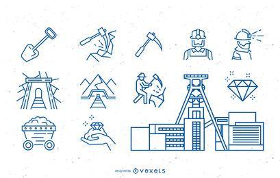 Coal Miner Icon-Sammlung