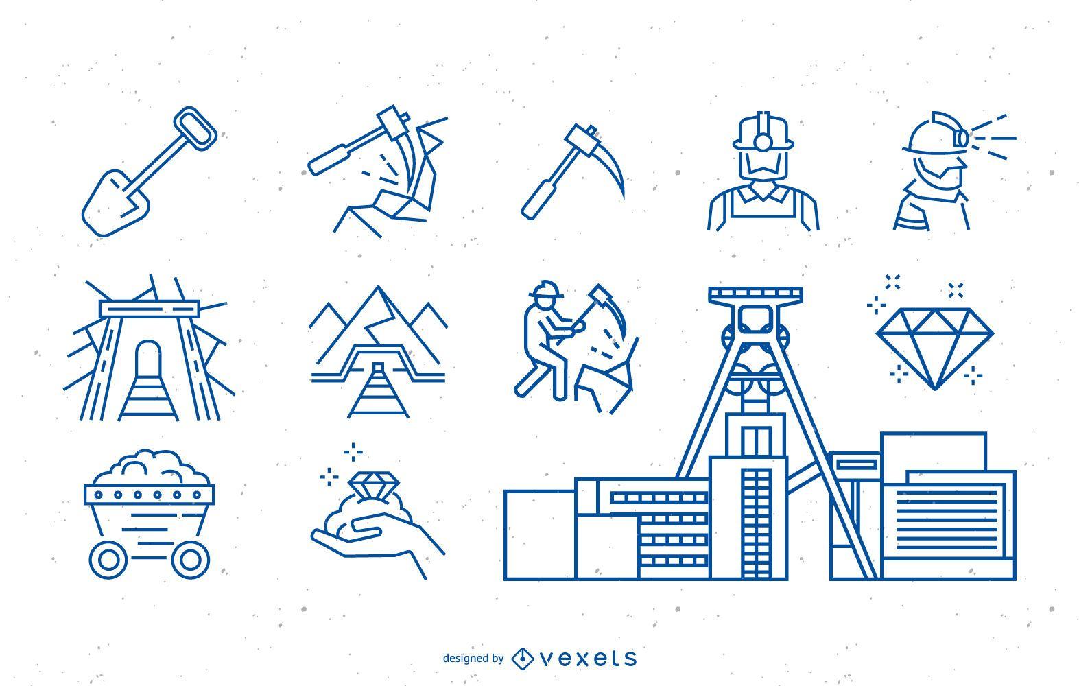 Colección de iconos de minero de carbón