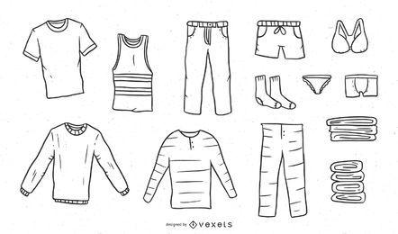 Coleção de roupas desenhadas à mão