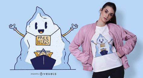 Design de t-shirt de iceberg de abraços grátis