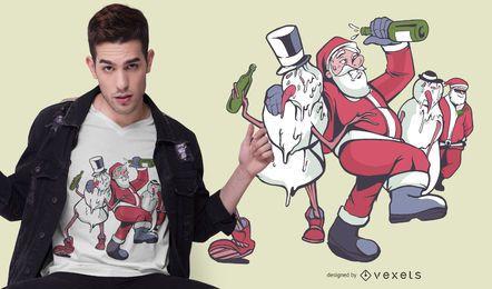 Diseño borracho de camiseta navideña