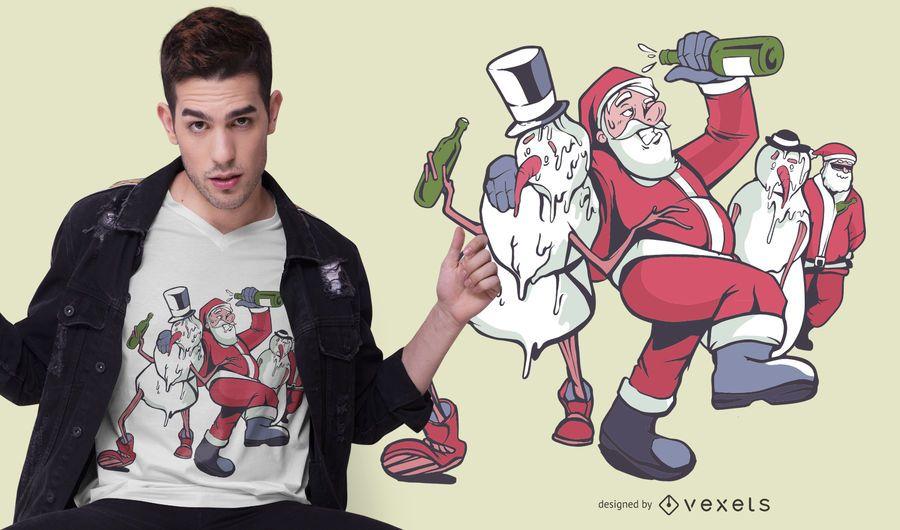 Design de t-shirt de Natal bêbado