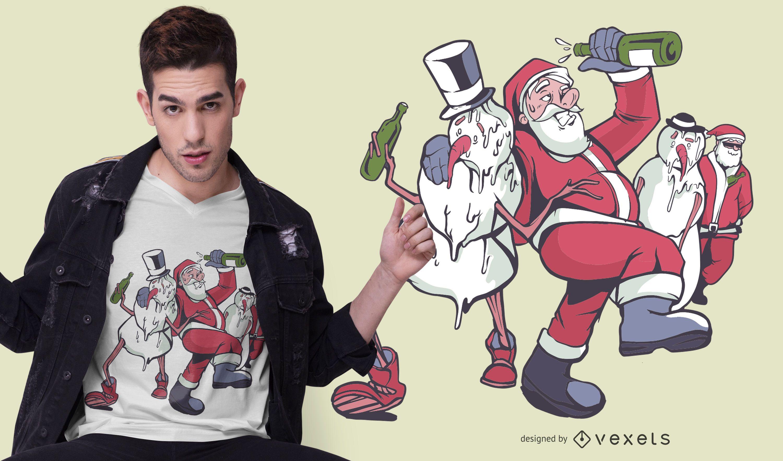 Diseño de camiseta de Navidad borracha