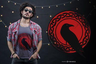 Diseño de camiseta de cuervo