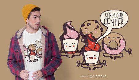 Design de t-shirt de pastelaria de ioga