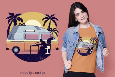 Diseño de camiseta camper van sunset